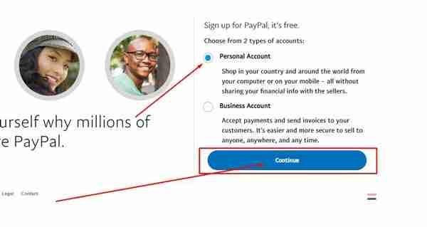 انشاء حساب باي بال الخطوة 2
