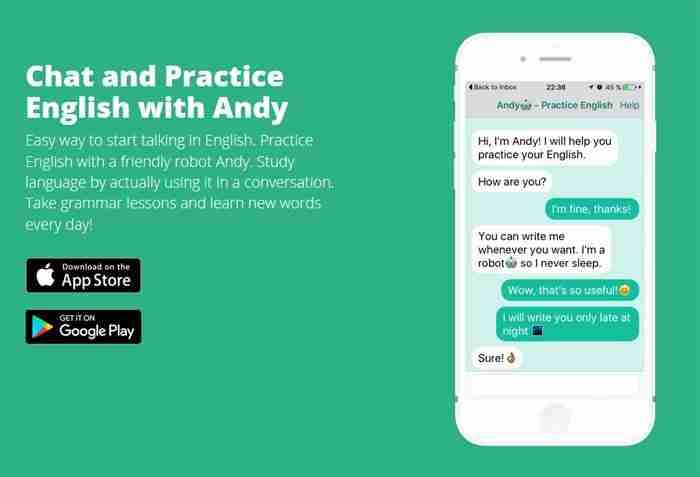 تطبيق chat with andy لتعلم اللغة الإنجليزية
