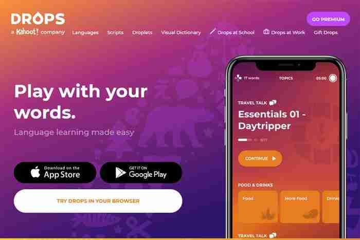 تطبيق drops لتعلم اللغة الإنجليزية
