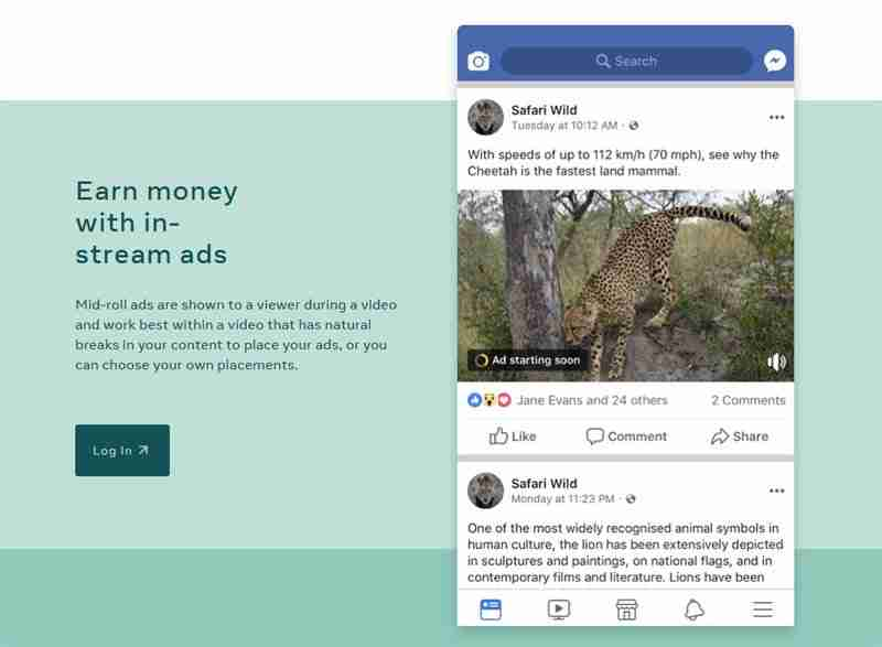 إعلانات الفيسبوك على الفيديوهات