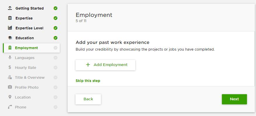 إضافة التوظيف لحسابك على Upwork
