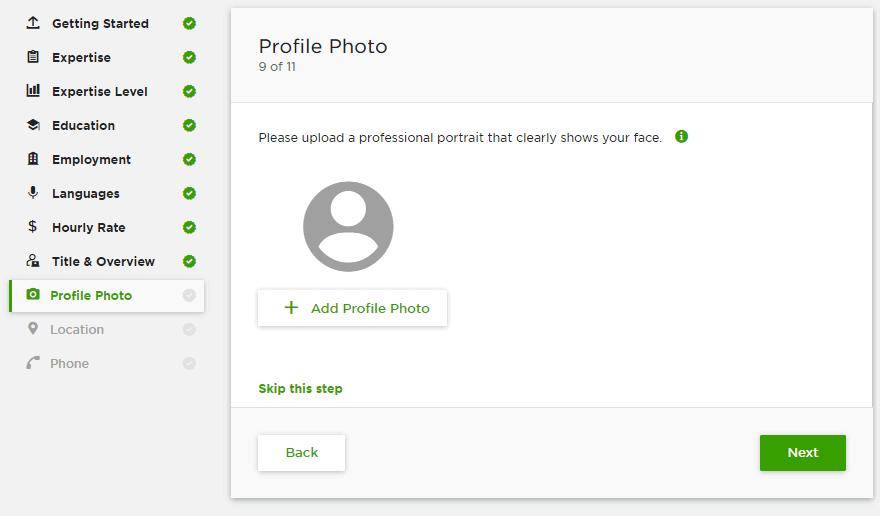 إضافة الصورة الشخصية في حسابك على Upwork