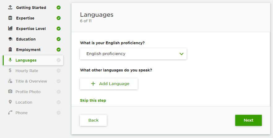 إضافة اللغة لحسابك على Upwork