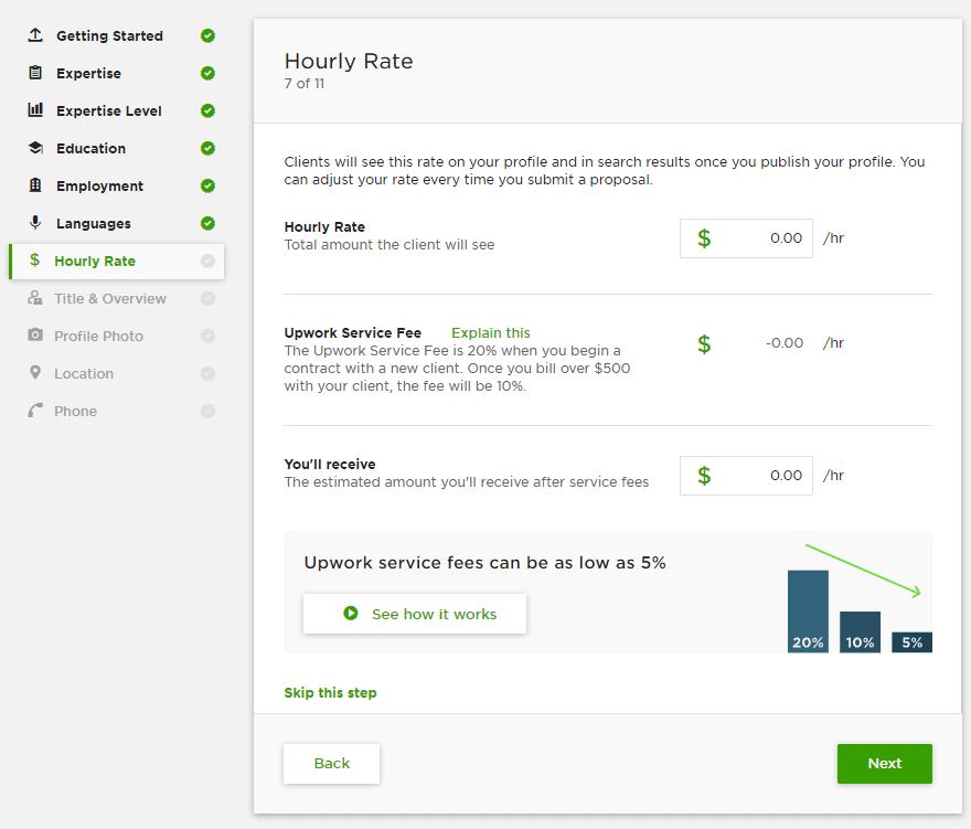تحديد معدل سعر ساعة العمل على موقع Upwork