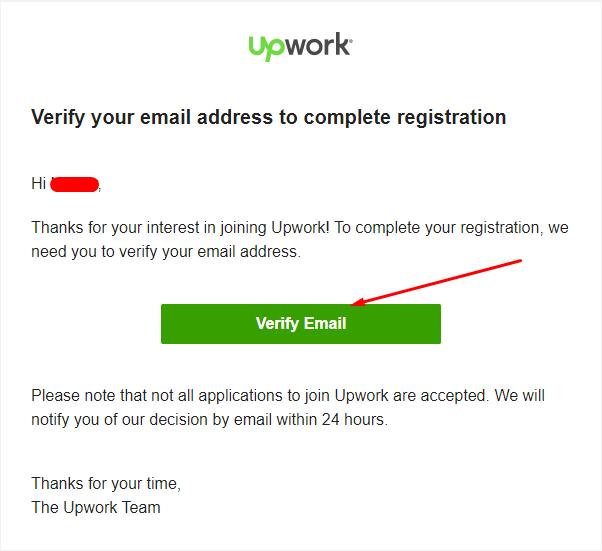 رسالة تفعيل عنوان البريد الإلكتروني من موقع Upwork