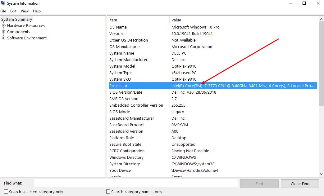 التعرف على CPU جهازك الخطوة الثانية