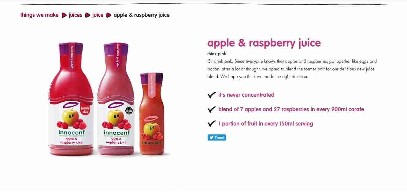 وصف منتج عصير طبيعي