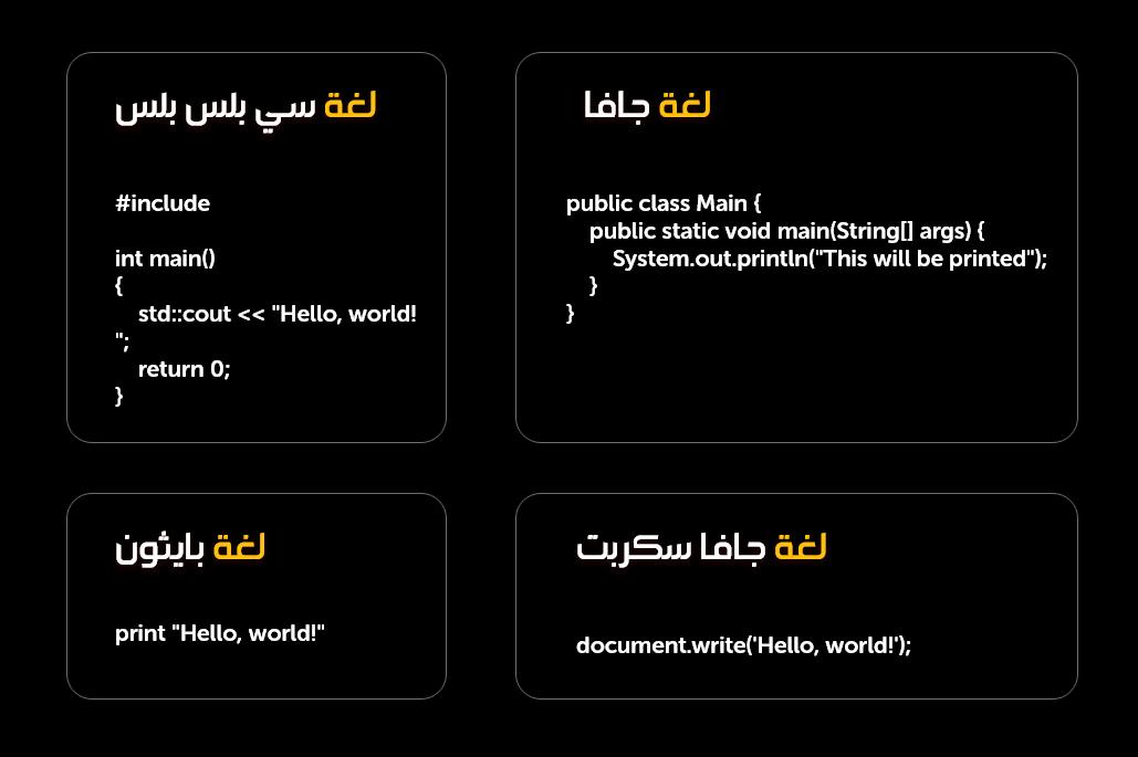 مثال على الـ Syntax بعدة لغات برمجة