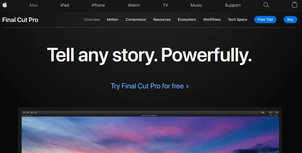 برنامج Final Cut Pro X لعمل وتحرير الفيديوهات من ابل