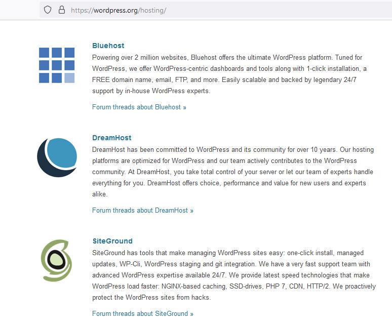 أفضل 3 استضافات يوصي بها موقع ووردبريس الرسمي
