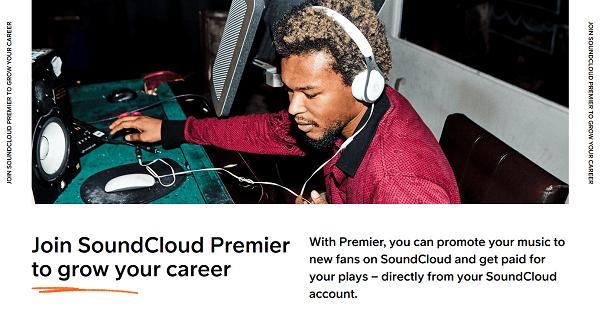 موقع Soundcloud Premier لتحقيق الأرباح