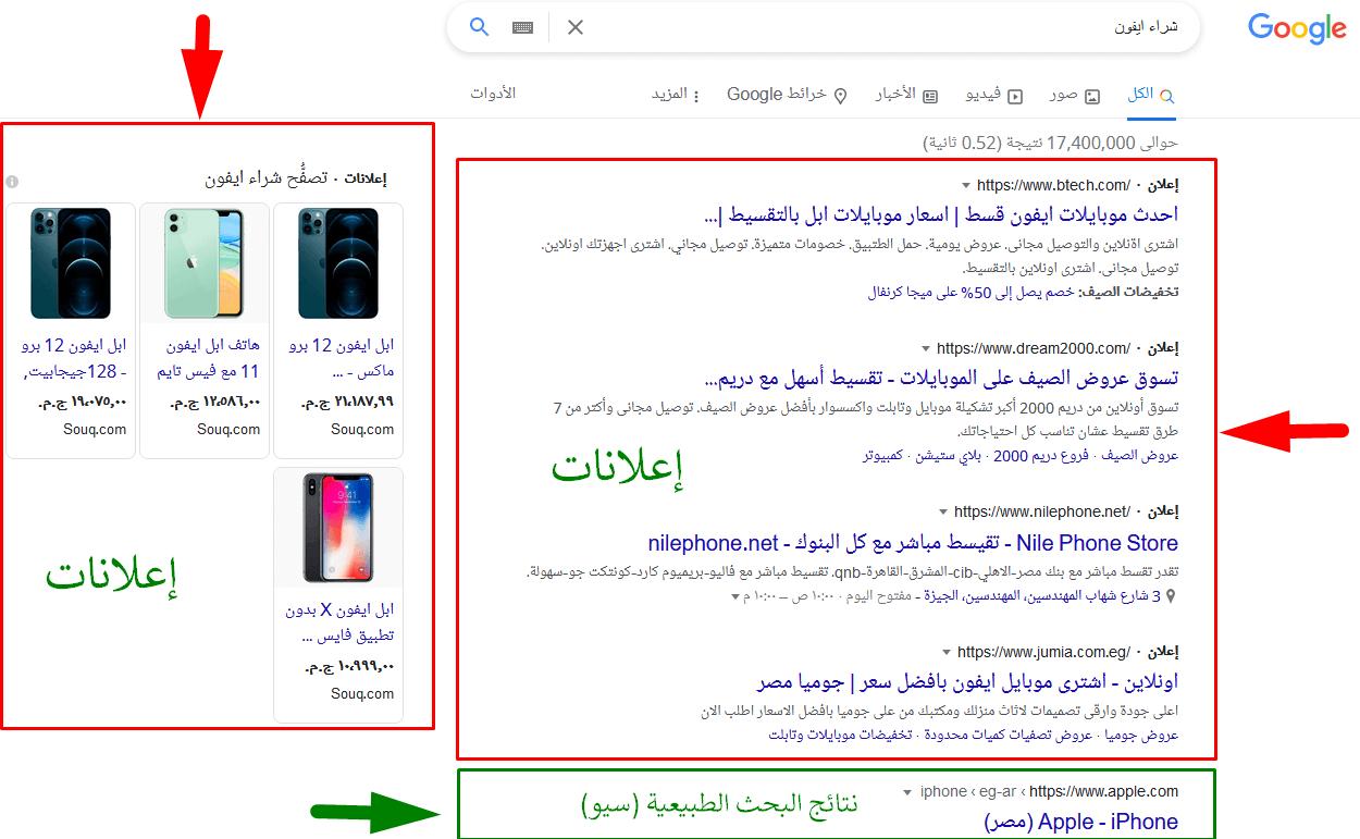أماكن ظهور إعلانات ppc في محرك البحث جوجل