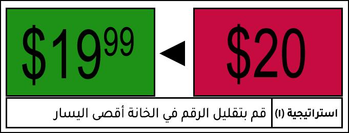 استراتيجية تسعير قم بتقليل الرقم في الخانة أقصى اليسار