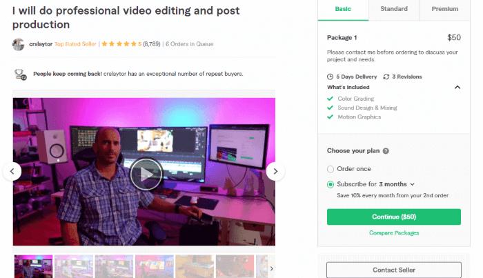الخدمة الأولى لتعديل الفيديوهات على فايفر