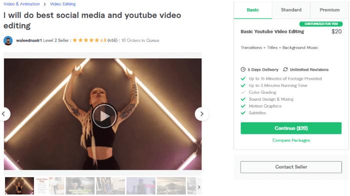 الخدمة الخامسة لتعديل الفيديوهات على فايفر