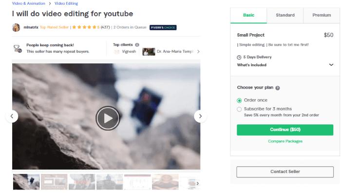 الخدمة السادسة لتعديل الفيديوهات على فايفر